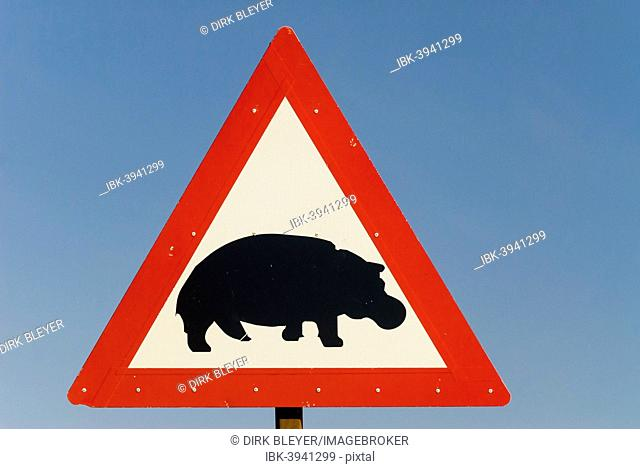 Warning sign, hippos crossing, South Africa