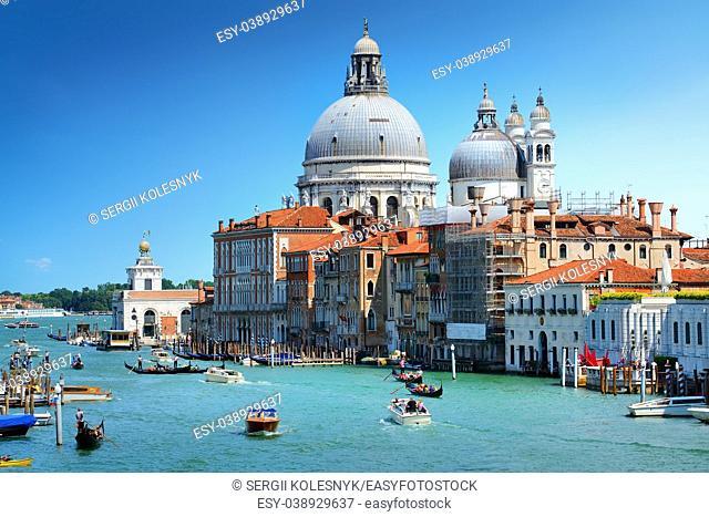 Famous venetian basilica Santa Maria della Salute by day, Italy