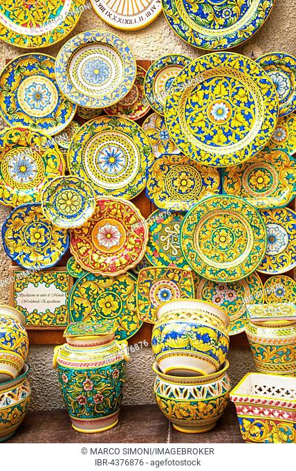 Traditional painted plates and pottery, Erice, Sicily, Italy