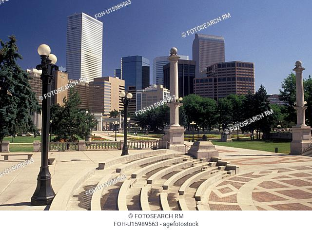 skyline, Denver, CO, Colorado, Skyline of downtown Denver from Civic Center Park