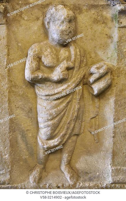 "Italy, Liguria, Camogli, Abbey of San Fruttuoso , Roman sarcophagus of ""the teaching philosopher"" (3d C)"