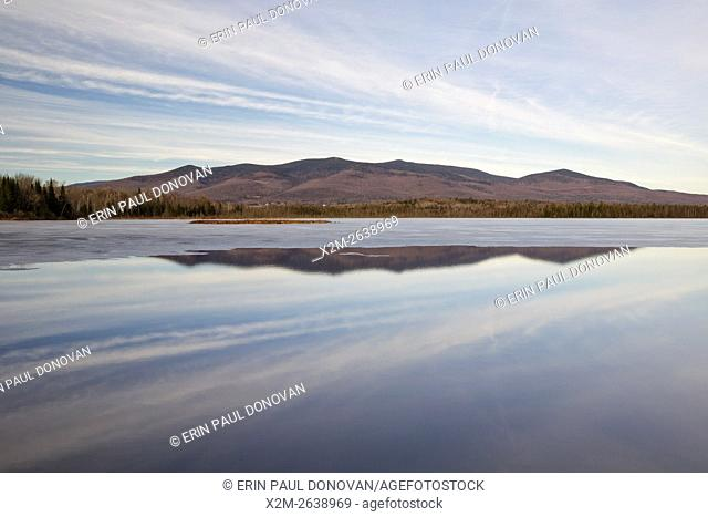Scenic view from Cherry Pond at Pondicherry Wildlife Refuge in Jefferson, New Hampshire USA during the winter months. The Cohos Trail passes by Cherry Pond
