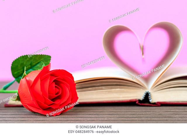 Pages of book curved into a heart shape and red rose, Love concept of heart shape from book pages