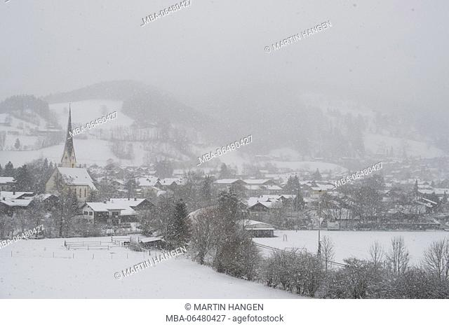 View at minster St. Martin with the tomb of the poacher Jennerwein, Schliersee, Bavaria, Germany