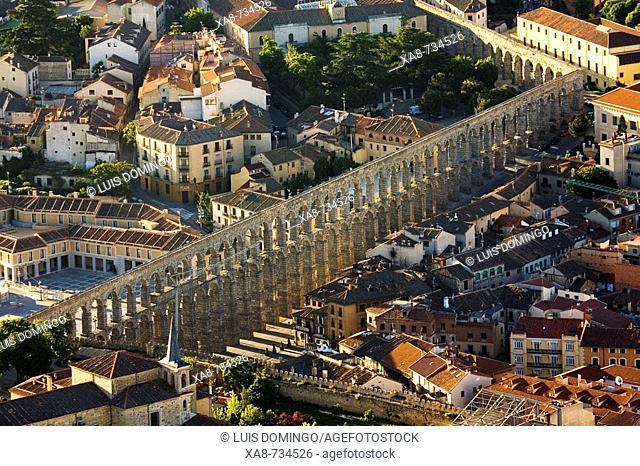 Aerial view on Roman aqueduct, Segovia. Castilla-Leon, Spain