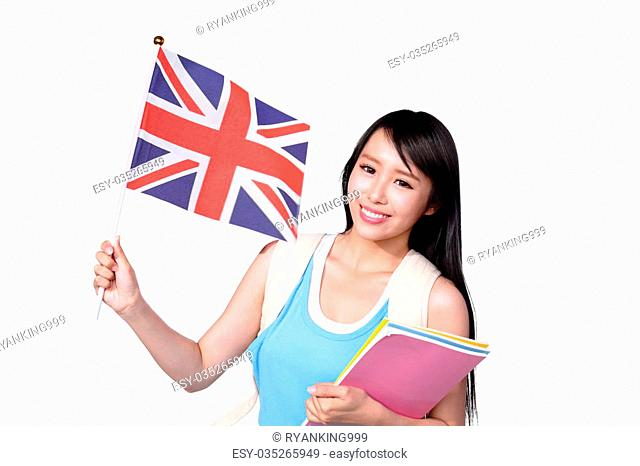 Happy College Student girl hold British flag. Isolated on white background, asian