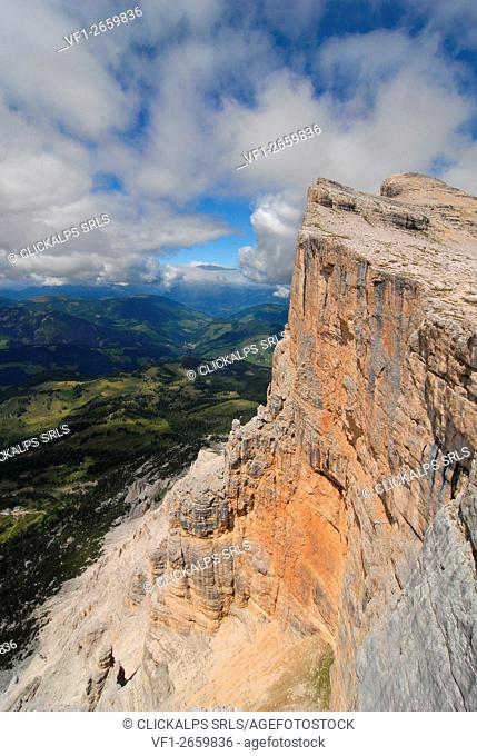 The wall of the Sas dla Crusc in Alta Badia, Dolomites