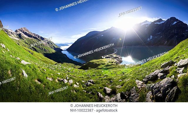 Mooserboden and Wasserfallboden reservoir with Mooser dam, Hohe Tauern, Kaprun, Salzburg, Austria