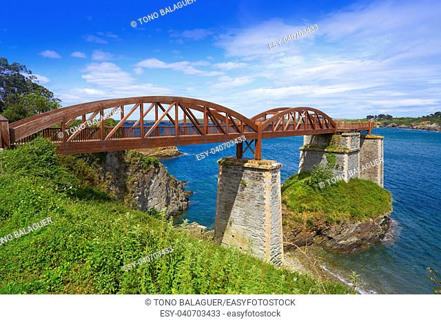 Ribadeo bridge viewpoint over Eo river from Galicia in Spain