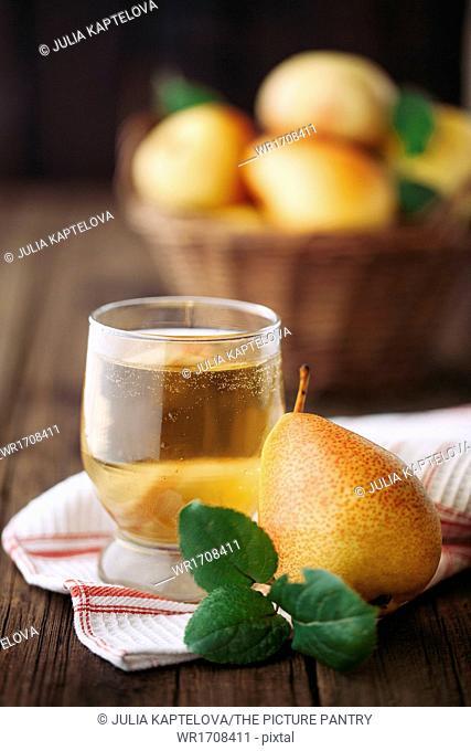 Homemade organic pear cider