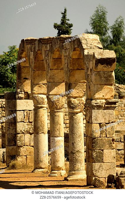 Pillars and Arches in Anjar Castle Lebanon