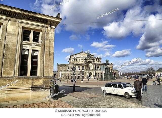 The famous historic Semper Oper in the old town of Dresden, Germany