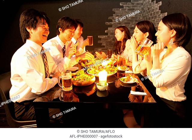 Japanese business people dining out