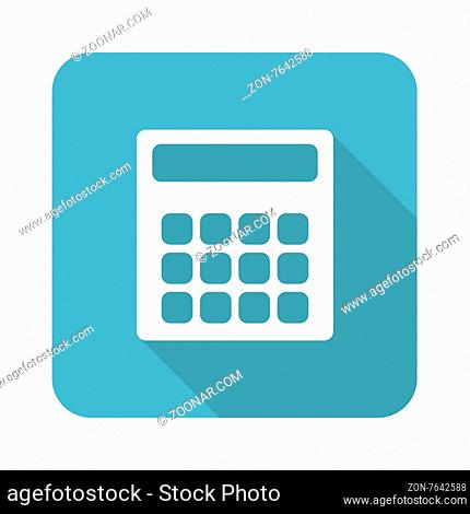 Vector square icon with image of calculator, isolated on white