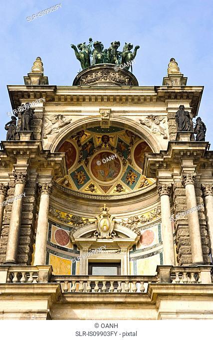 Ornate detail of Semperoper, Zwinger, Dresden, Germany