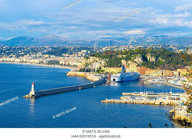 Panoramic View Over Nice and Coastline in Provence-Alpes- Côte d'Azur, France