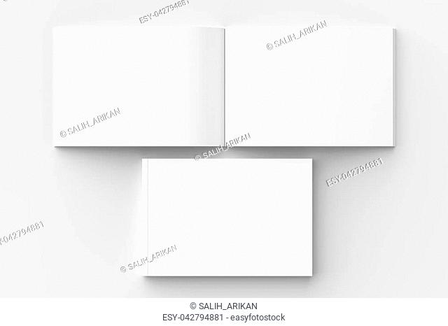 Horizontal - landscape hardcover brochure, book or catalog mock up isolated on soft gray background. 3D illustrating