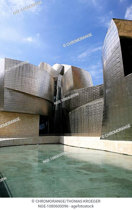 guggenheim museum in bilbao with stainless steel facade capital of the province of bizkaia basque country spain europe