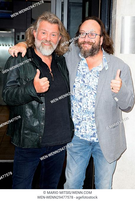 The Hairy Bikers pictured arriving at the Radio 2 studio Featuring: David Myers, The Hairy Bikers, Simon King, Si King Where: London