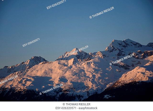 alpenglow, sunset, night, lienz dolomites, hochstein, zettersfeld, winter, snow