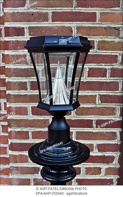 lamp outside store, annapolis, maryland, usa