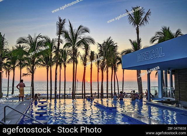 Sunset at the swimming pool of Riu Resort Hotel, Nuevo Vallarta, Riviera Nayarit, Mexico