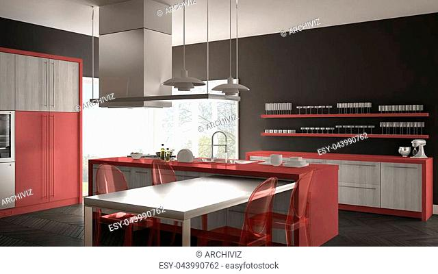 Minimalistic modern kitchen with table, chairs and parquet floor, gray and red interior design