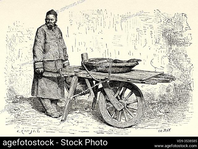 Fruit vendor at Donghuamen market, Beijing, China. Old 19th century engraved illustration, Trip to Beijing and North China 1873