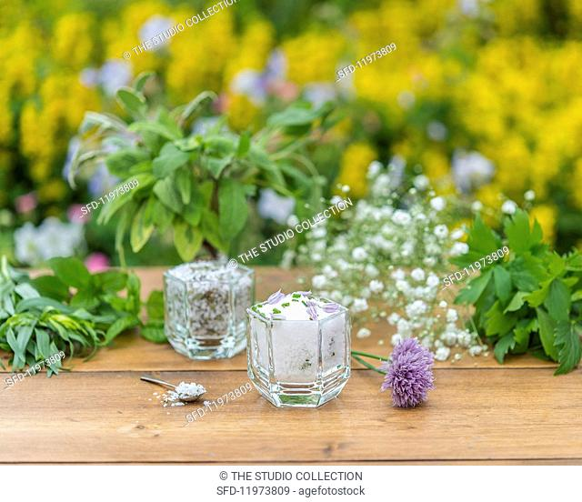 Herb salt on a garden table