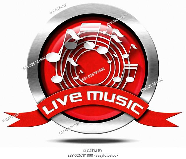 Metal icon or symbol with white and gray musical notes, red ribbon with text live music. Isolated on white background