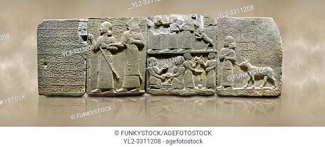 Photo of Hittite monumental relief sculpted orthostat stone panel of Royal Buttress. Basalt, Karkamıs, (Kargamıs), Carchemish (Karkemish), 900-700 B