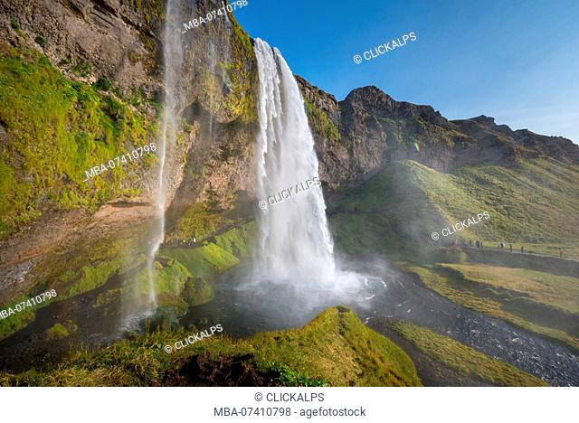 Seljalandsfoss waterfall in summer, Southern Iceland, Iceland
