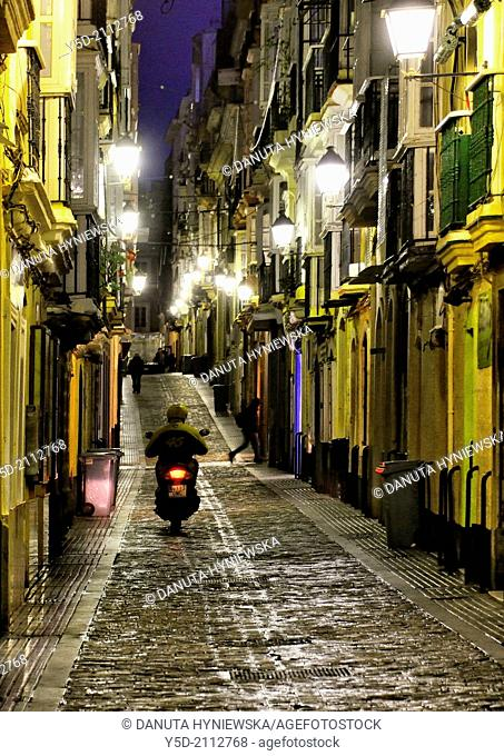 Calle San Francisco at night, old town of Cadiz, Andalusia, Spain, Europe