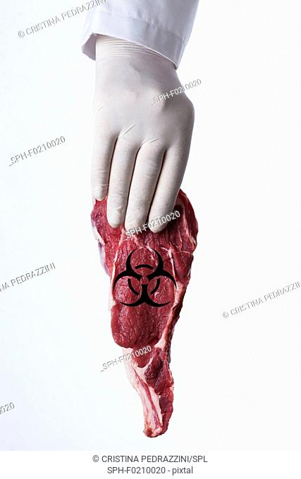 Person holding raw meat with biohazard symbol
