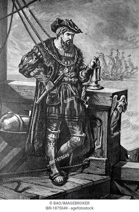 Vasco da Gama, 1469-1524, Portuguese navigator, historical illustration, about 1886