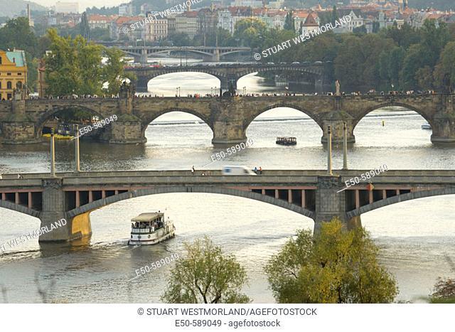 View across Vltava River to Old Town Bridge Tower area, Prague, Czech Republic