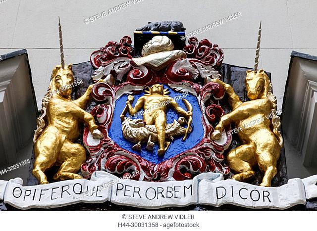England, London, The City, Black Friars Lane, Entrance to the Apothecaries' Hall, Apothecaries Society Coat of Arms