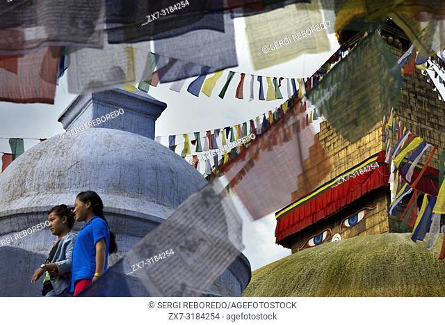 Tibetan flags and Bodhnath Buddhist Stupa, Kathmandu, Nepal, Asia
