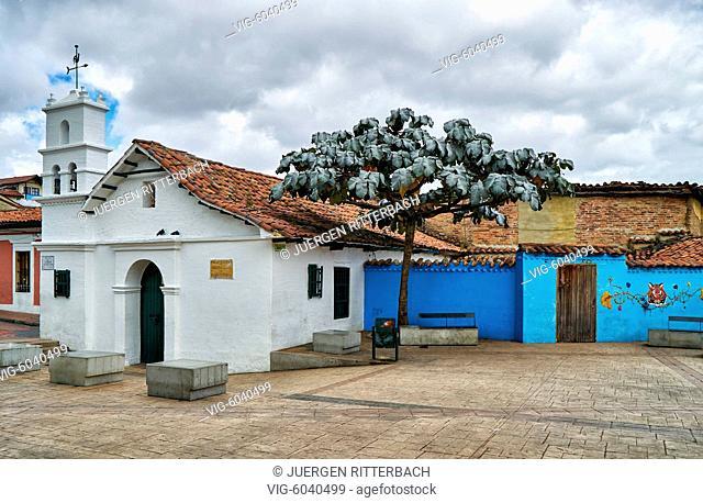 little chapel Ermita de San Miguel del Príncipe at Plaza Chorro de Quevedo, Bogota, Colombia, South America - Bogota, Colombia, 31/08/2017