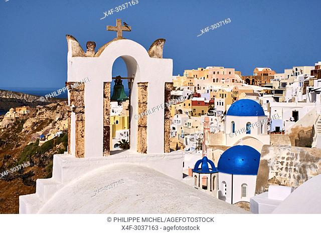 Greece, Cyclades, Santorini island, oia (Ia) village, church with blue dome