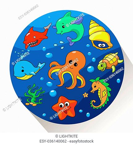 Cute sea creatures set. illustration of Marin life
