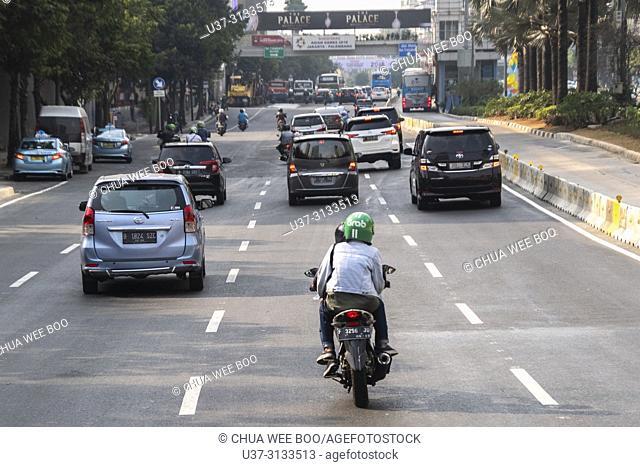 Motorbike Grab service in Jakarta, Indonesia