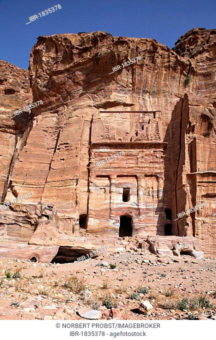 Silk Tomb, Petra, the capital city of the Nabataeans, rock city, UNESCO World Hertage Site, Wadi Musa, Hashemite Kingdom of Jordan, Orient, Middle East, Asia