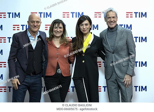 Teresa De Santis with Claudio Bisio, Virginia Raffaele and Claudio Baglioni in the Press Room of the 69th Sanremo Music Festival