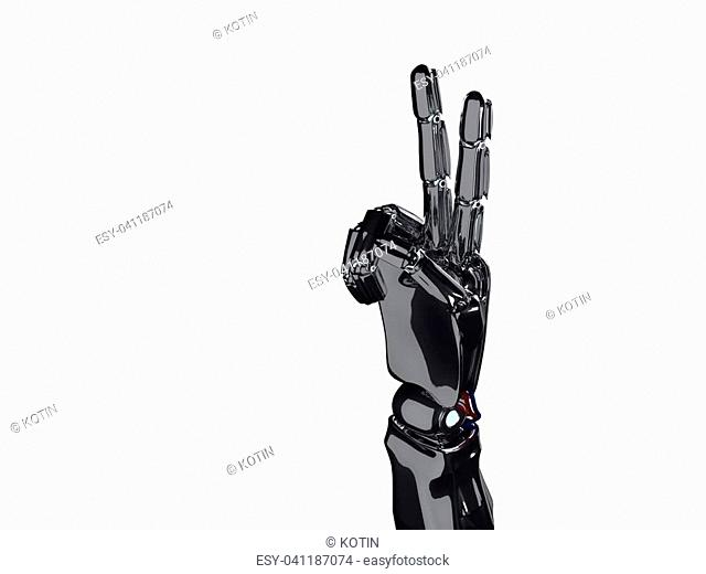 Metallic robot hand shows two fingers. Future technology concept. 3d rendering