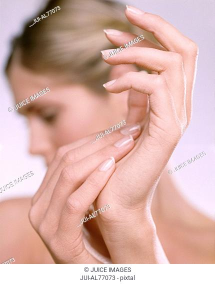 Close-up of a young woman's hands