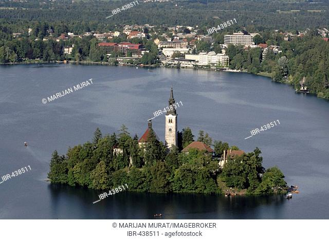 Island with Assumption of Mary's Pilgrimage Church, Lake Bled, Bled, Slovenia