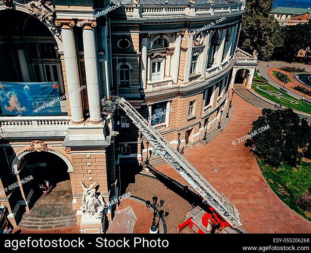 Bird's eye view of the Odessa Opera and Ballet Theater, Side Stands a Fire Truck with a Ladder extended