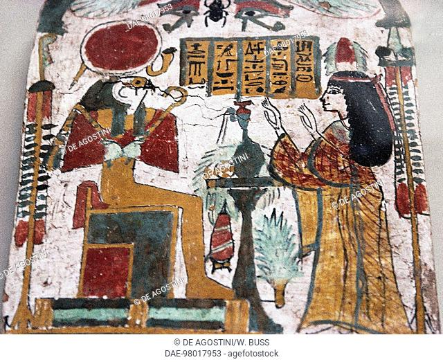 The deceased adoring Ra-Harakhte, detail of a stele. Egyptian civilisation, New Kingdom.  Cairo, Egyptian Museum