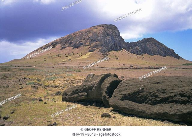 Birthplace of the moai, with numerous heads left on slopes, Volcan Rano Raraku, Rapa Nui National Park, UNESCO World Heritage Site, Easter Island, Chile